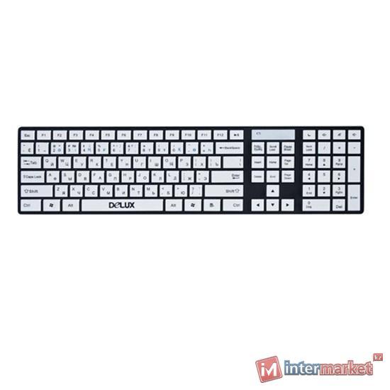 Клавиатура проводная USB Deluxe DLK-1000U Black/White